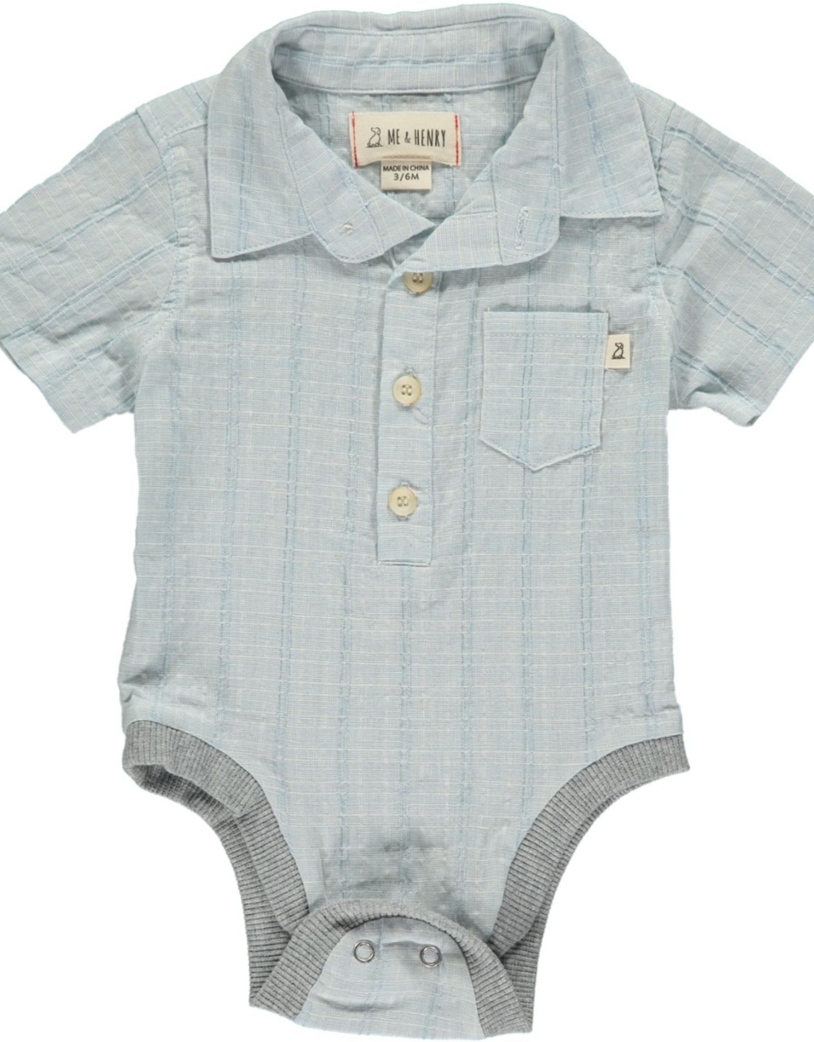 Me & Henry button down onesie- pale blue