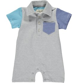 Me & Henry stripe polo romper- grey