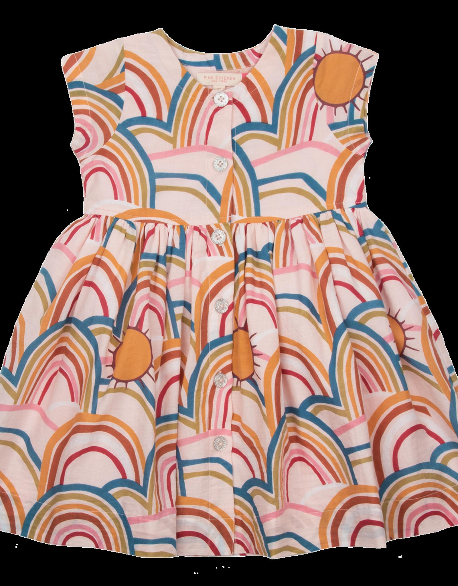 Pink Chicken winnie dress- rainbows