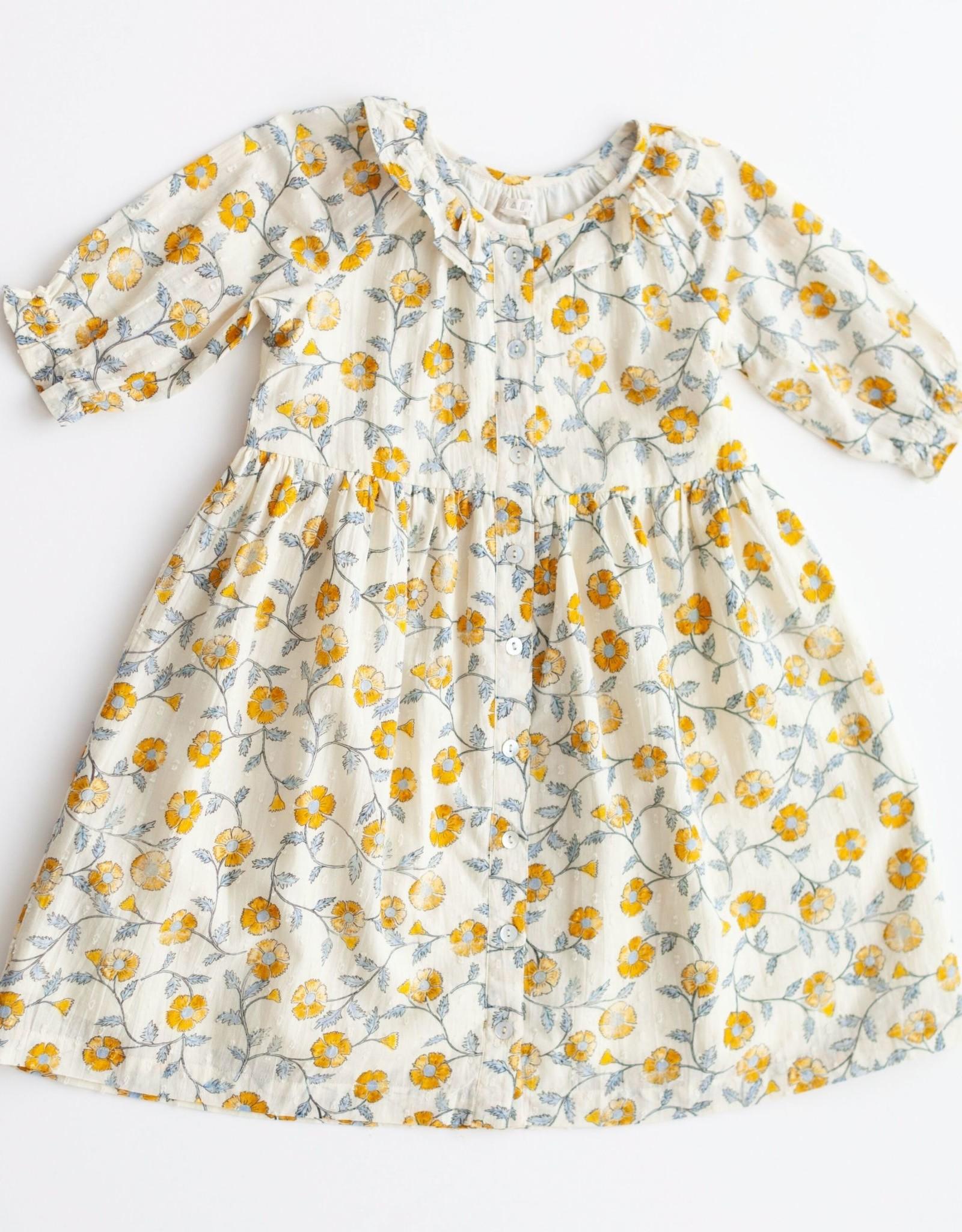 Lali Kids ivy dress- mustard flowers