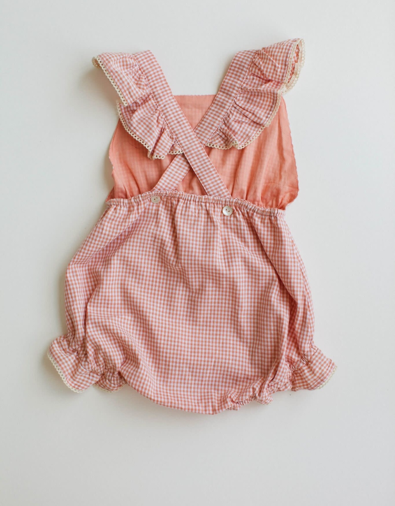 Lali Kids poppy romper- peach chex