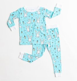 Little Sleepies aqua bunnies pajamas