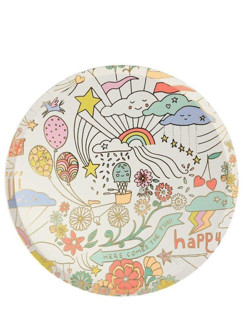 Meri Meri happy doodle plates
