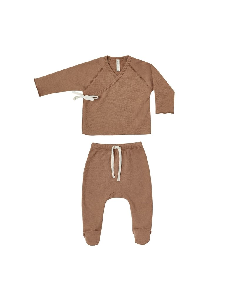 Quincy Mae kimono footie set- rust