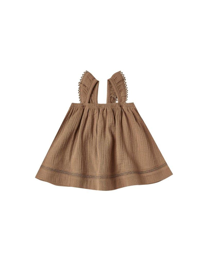 Quincy Mae ruffle dress- rust