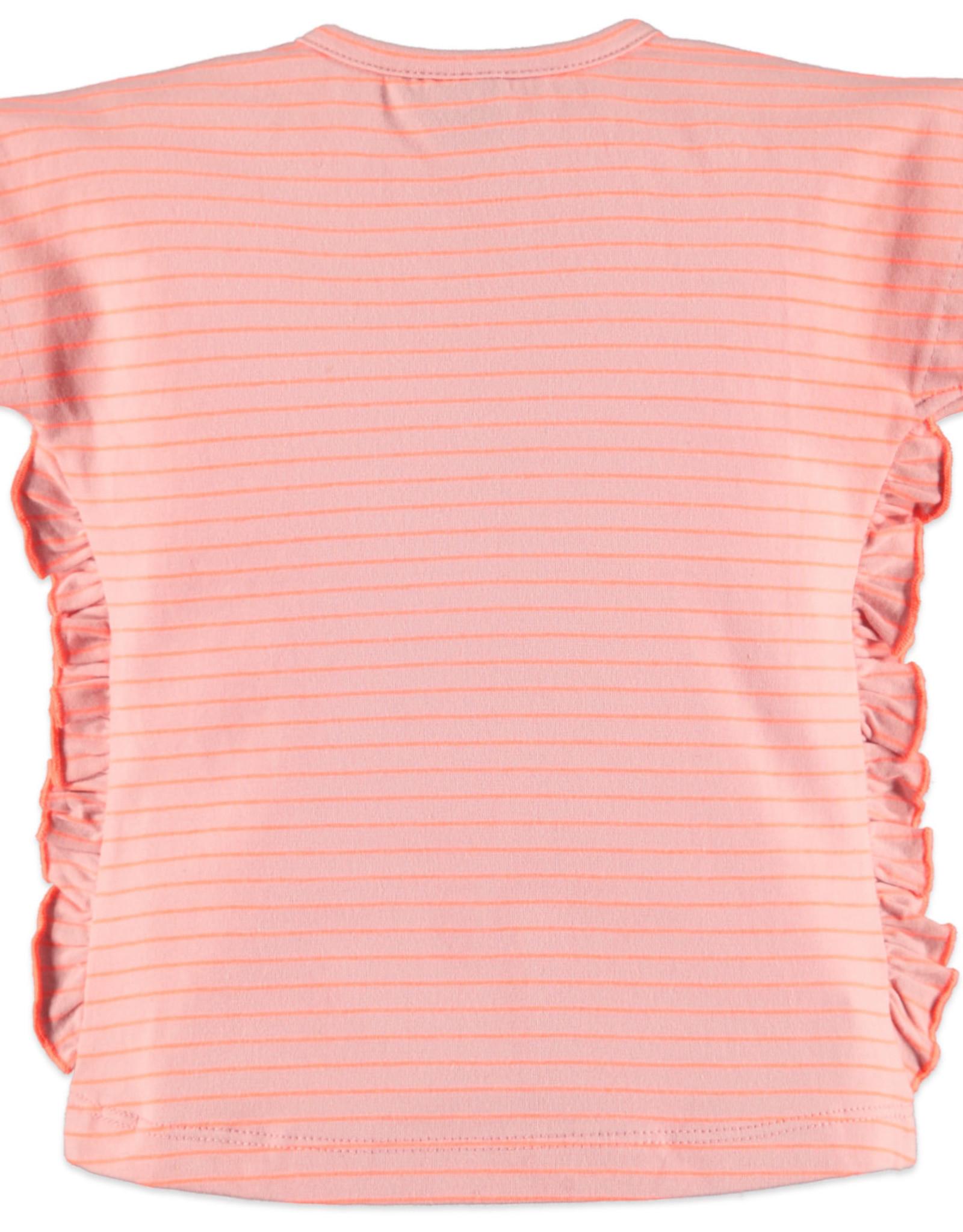 Babyface ruffle tee- pink stripe