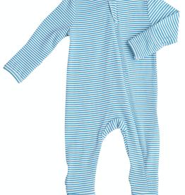 Angel Dear blue stripe zipper footie