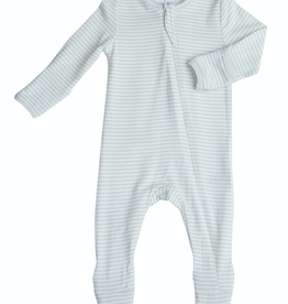 Angel Dear grey stripe zipper footie