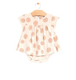 City Mouse skirted onesie- grapefruits