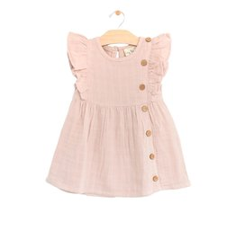 City Mouse flutter button dress- peach