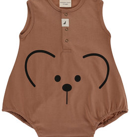 Turtledove London bear face romper- clay