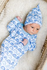 Little Sleepies knotted gown- blue rainbows