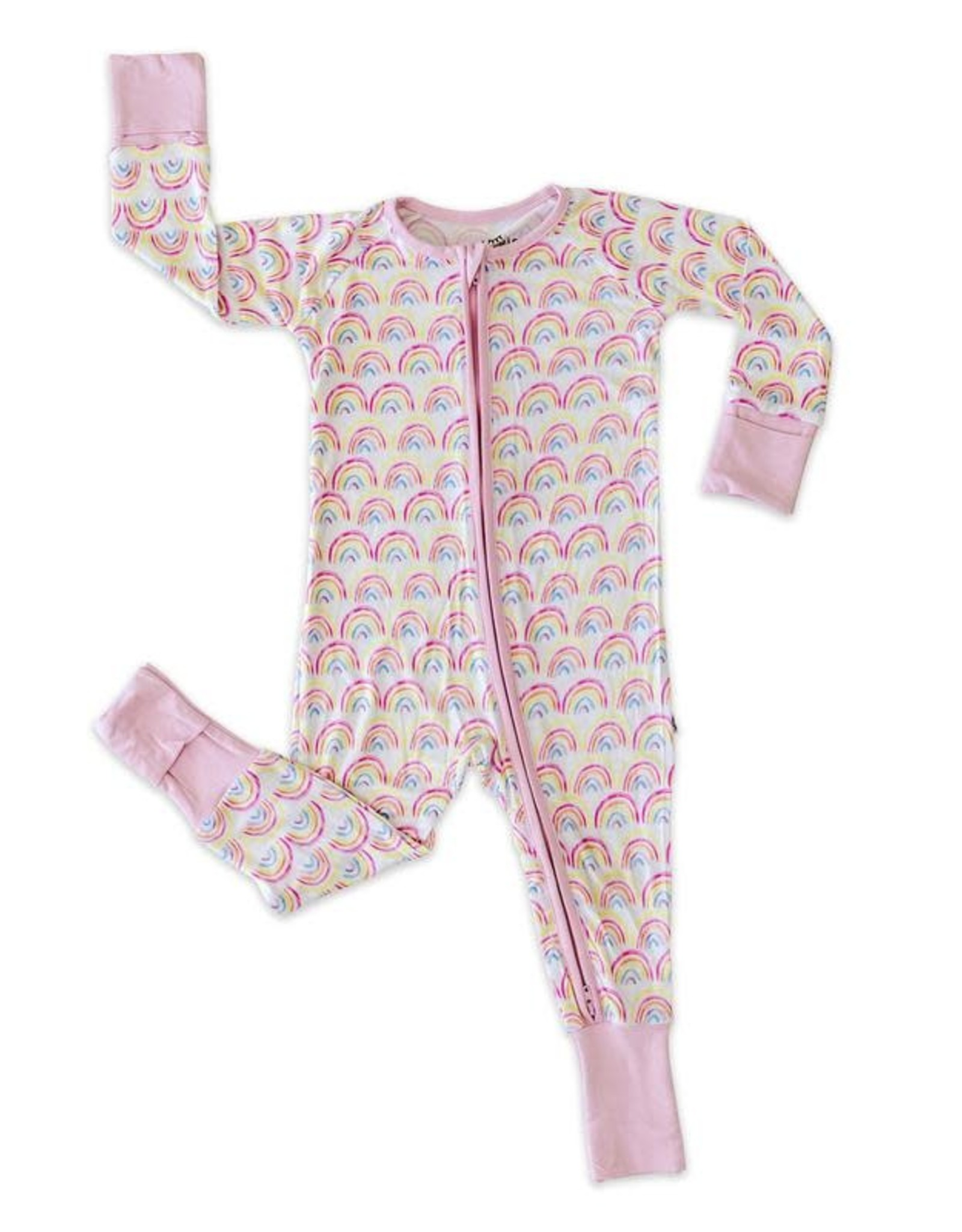 Little Sleepies pastel rainbows zippy
