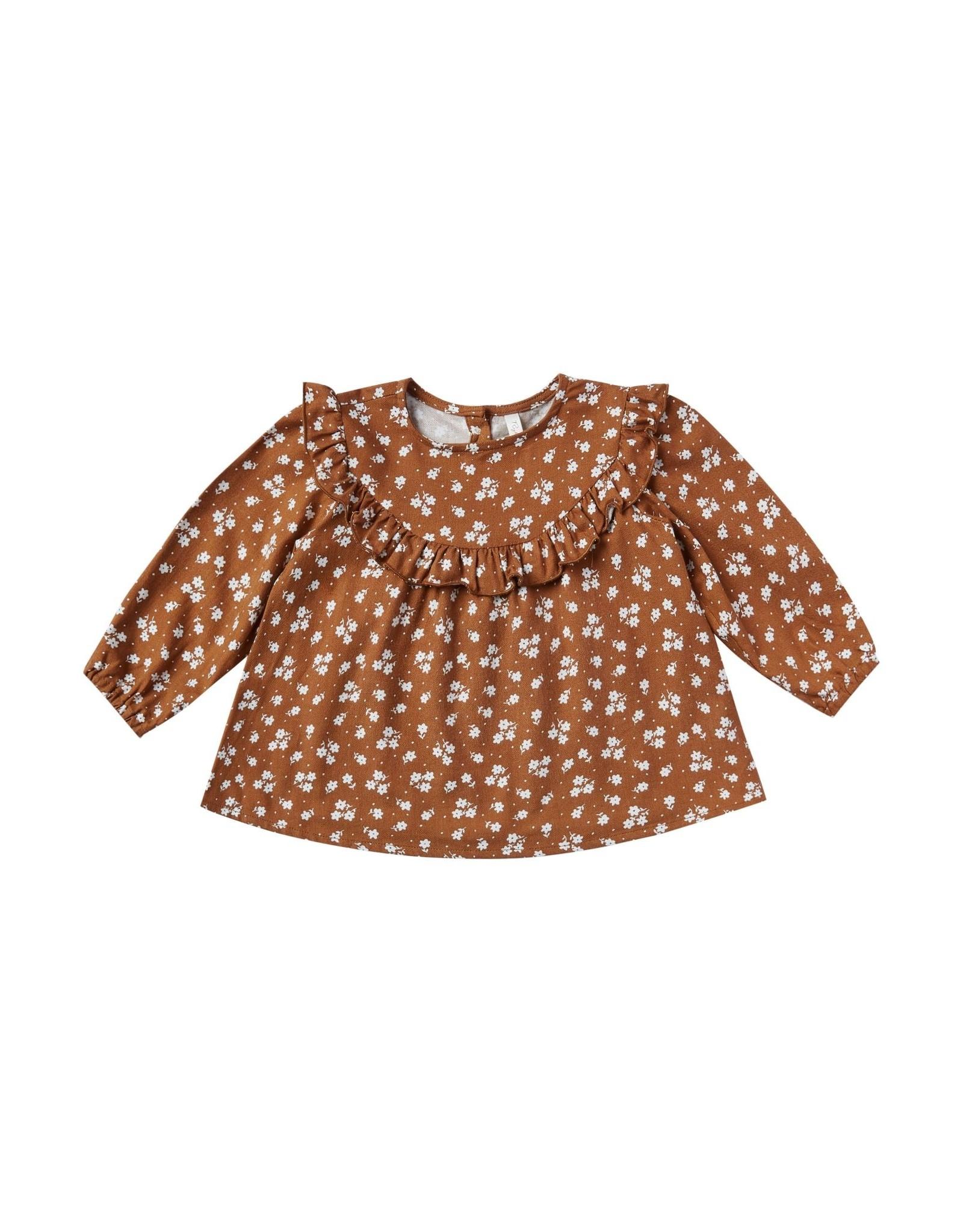Rylee and Cru ditsy victoria blouse- cinnamon
