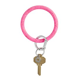 Big O Key Ring tickled pink confetti silicone