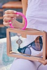 Big O Key Ring tickled pink confetti silicone