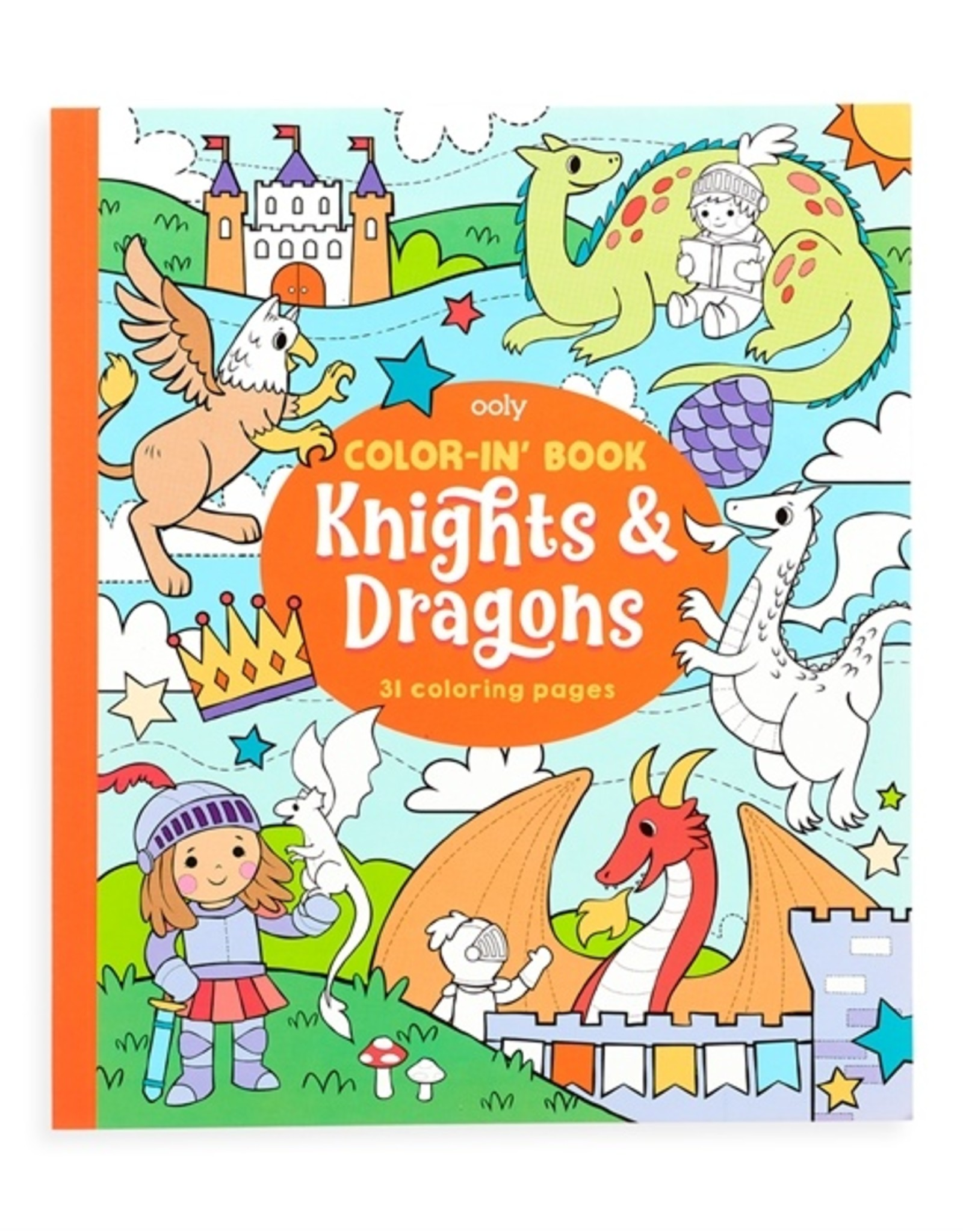 OOLY knight and dragons color-in' book