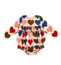 Pink Chicken frances bubble- multi hearts