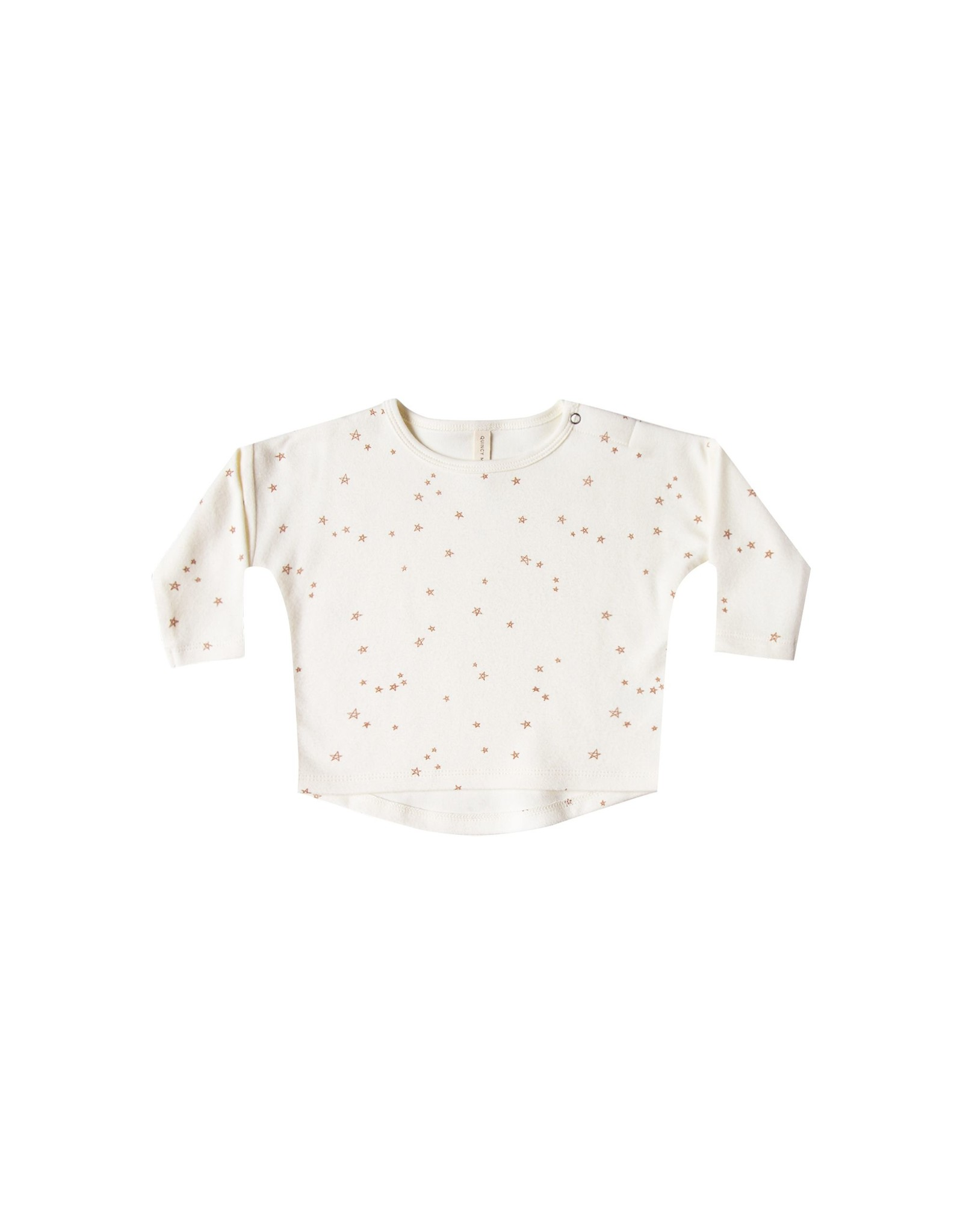 Quincy Mae l/s baby tee- ivory stars