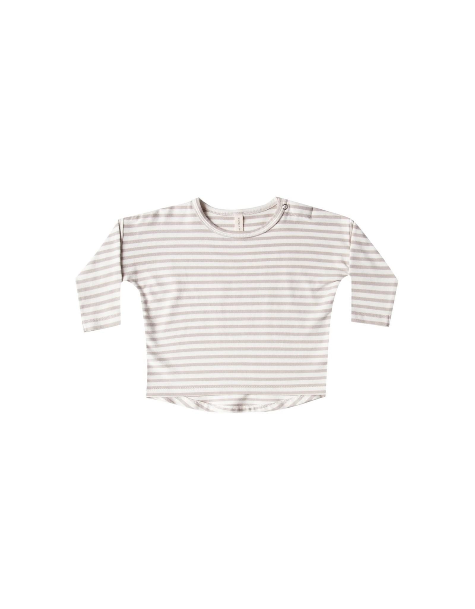 Quincy Mae l/s baby tee- fog stripe