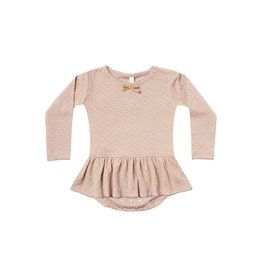 Quincy Mae pointelle skirted onesie- petal