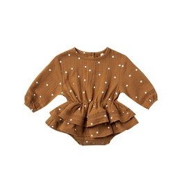 Quincy Mae rosie romper- walnut dot