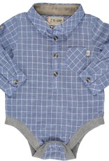 Me & Henry l/s button down onesie- blue grid