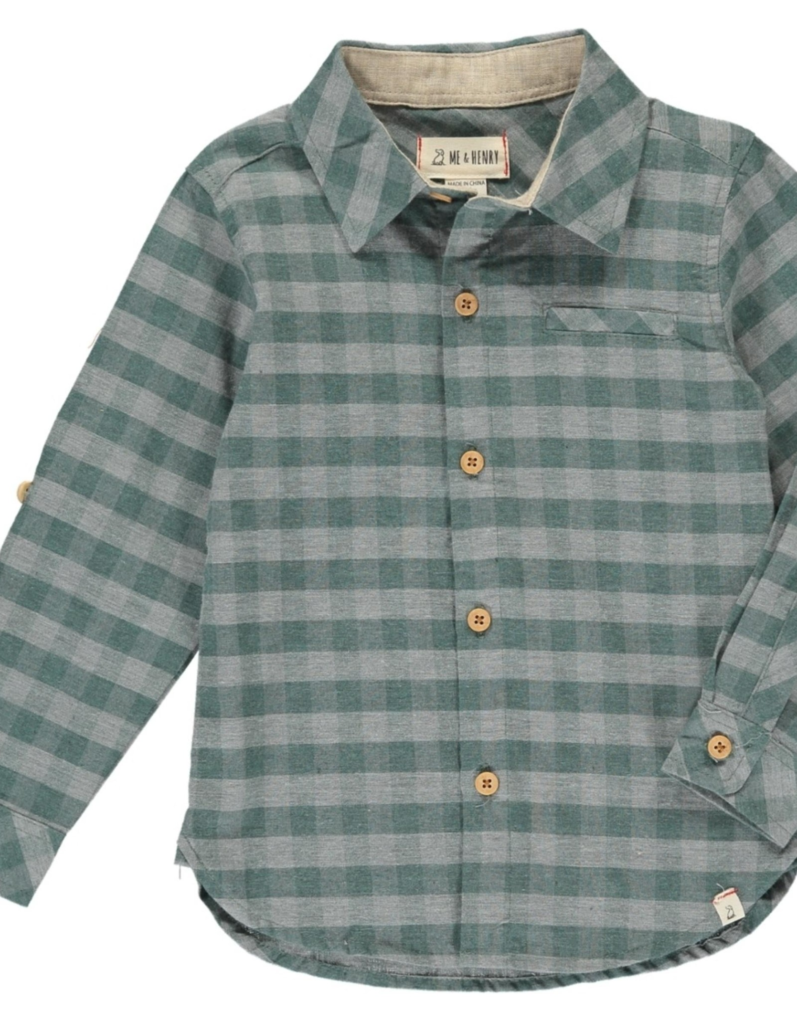 Me & Henry l/s button down- green/grey plaid