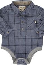 Me & Henry l/s button down onesie- blue/black plaid
