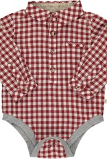 Me & Henry l/s button down onesie- rust plaid