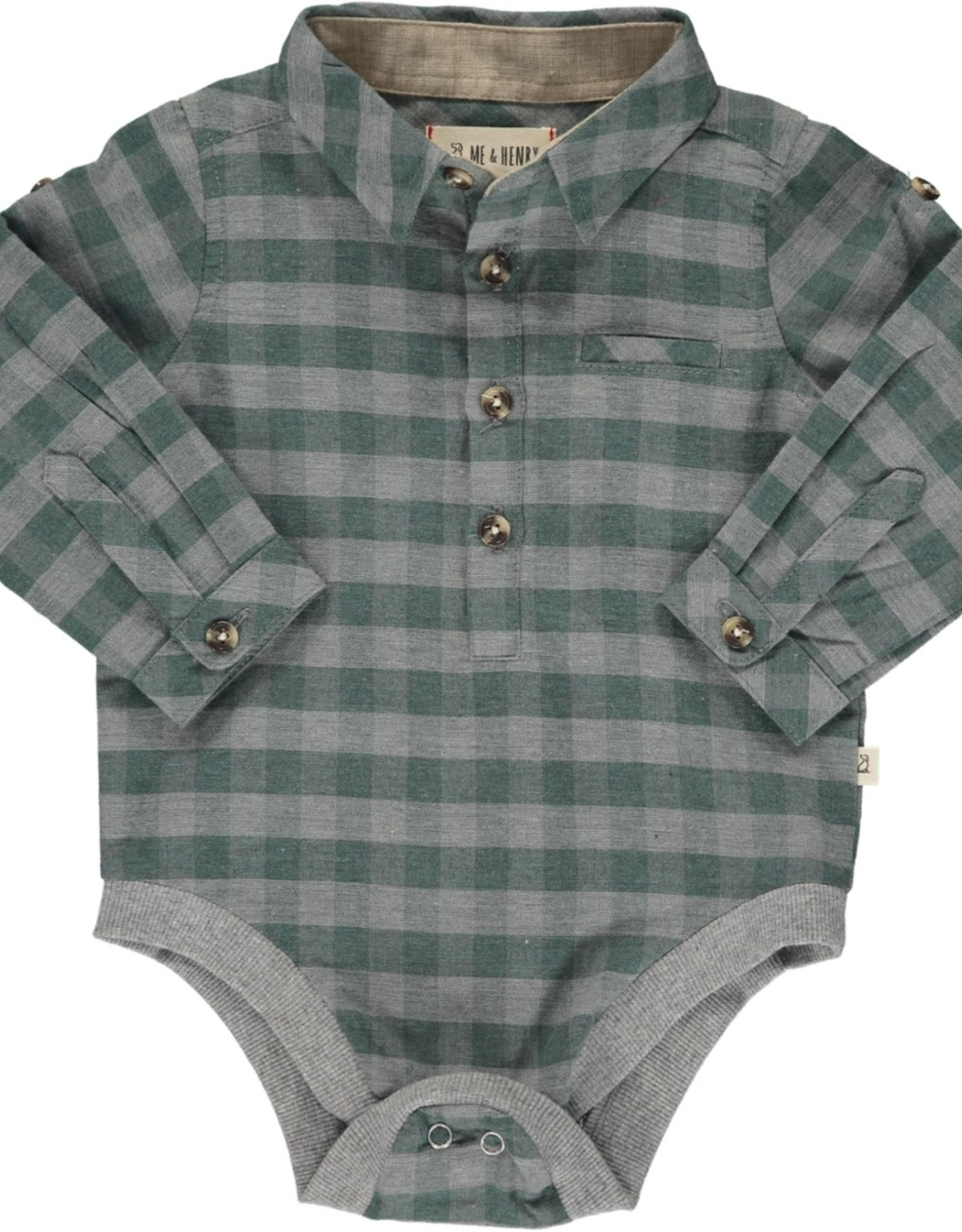 Me & Henry l/s button down onesie- green/grey plaid