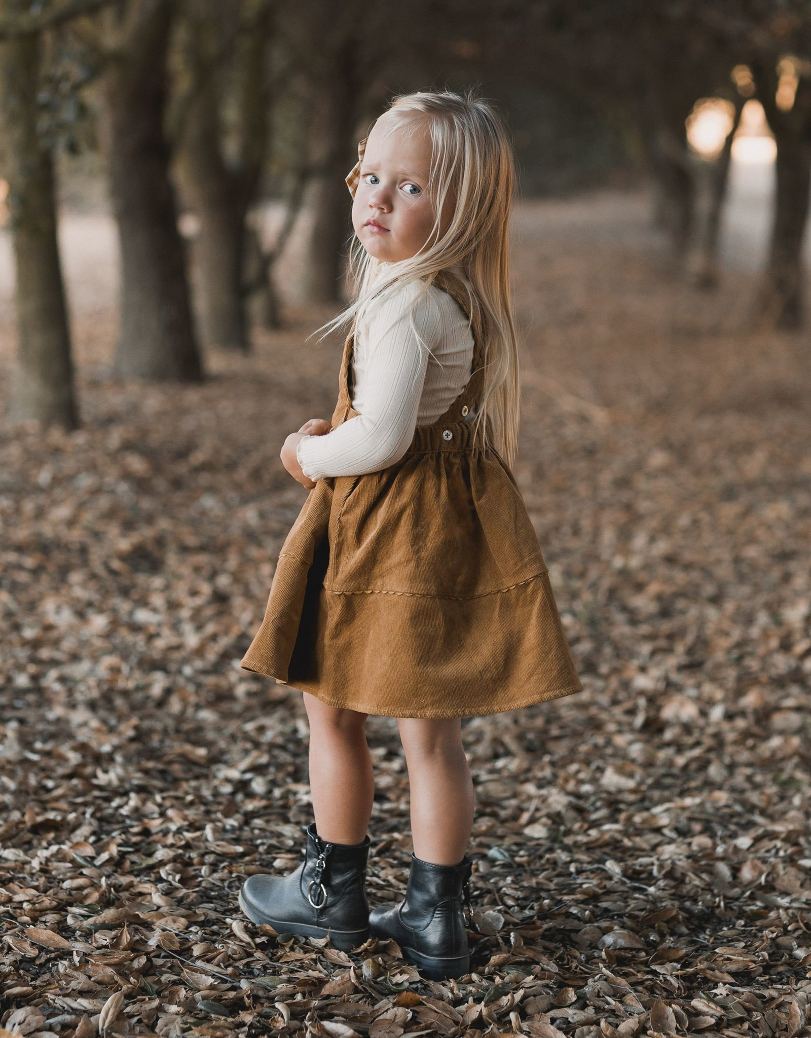 Rylee and Cru corduroy pinafore- goldenrod