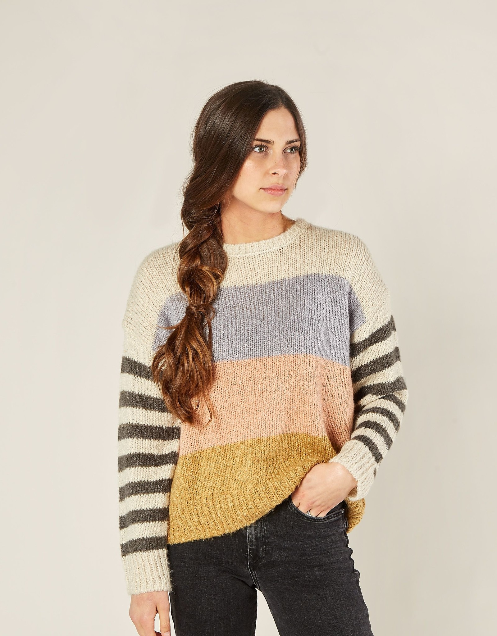 Rylee and Cru multi stripe aspen sweater
