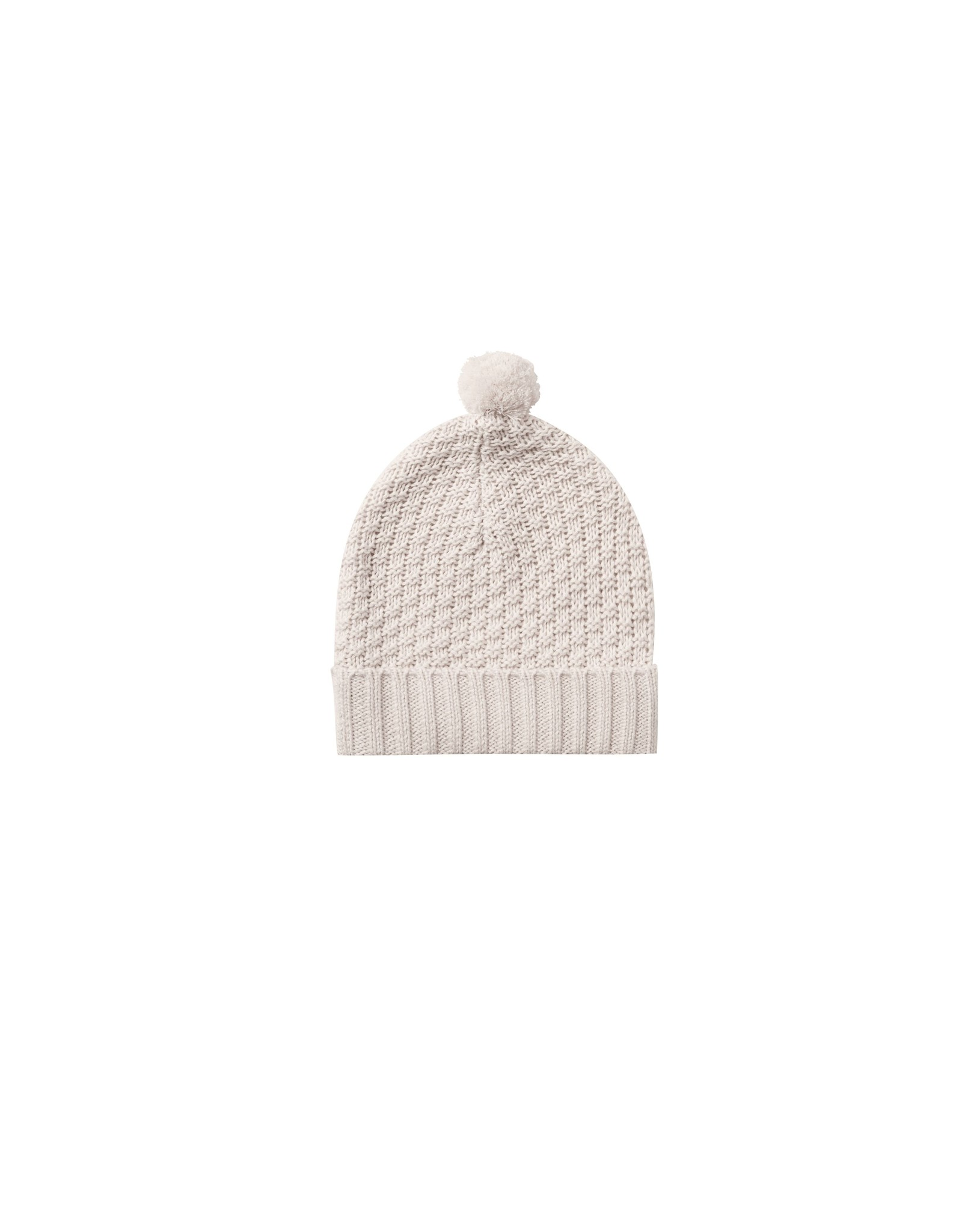 Quincy Mae knit pom pom beanie- pebble