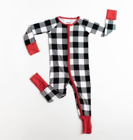 Little Sleepies buffalo plaid zippy