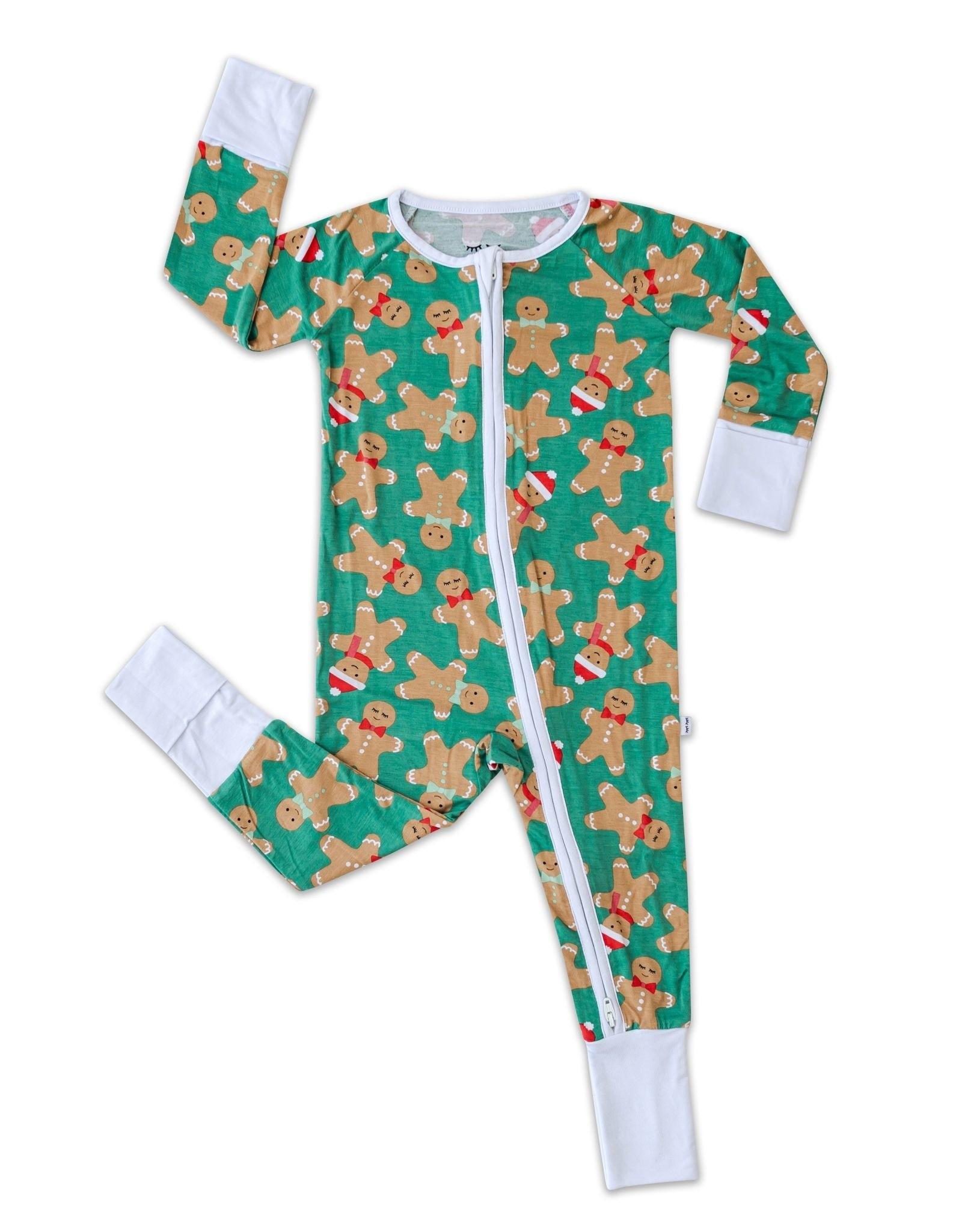 Little Sleepies green gingerbread zippy