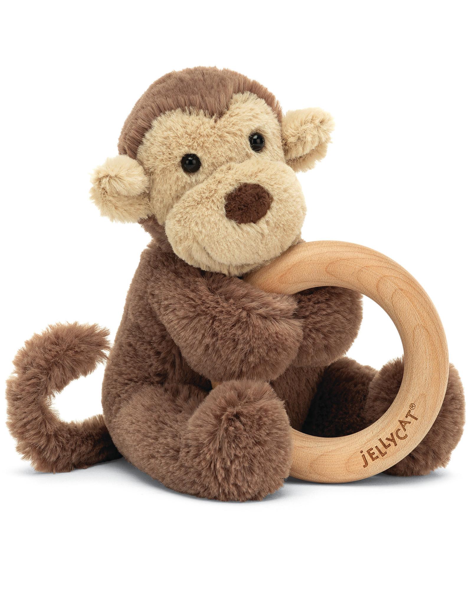 Jellycat bashful monkey wooden ring