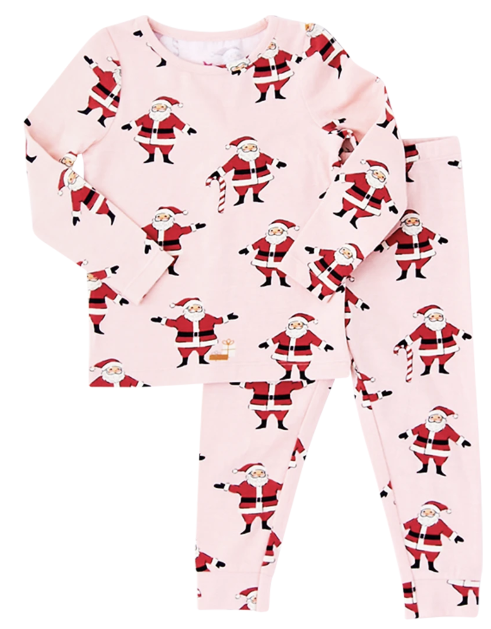 Pink Chicken baby l/s pj set- strawberry santas