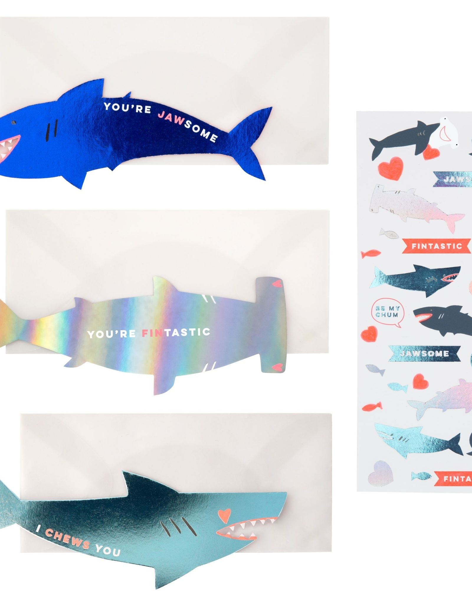 Meri Meri shark sticker love notes