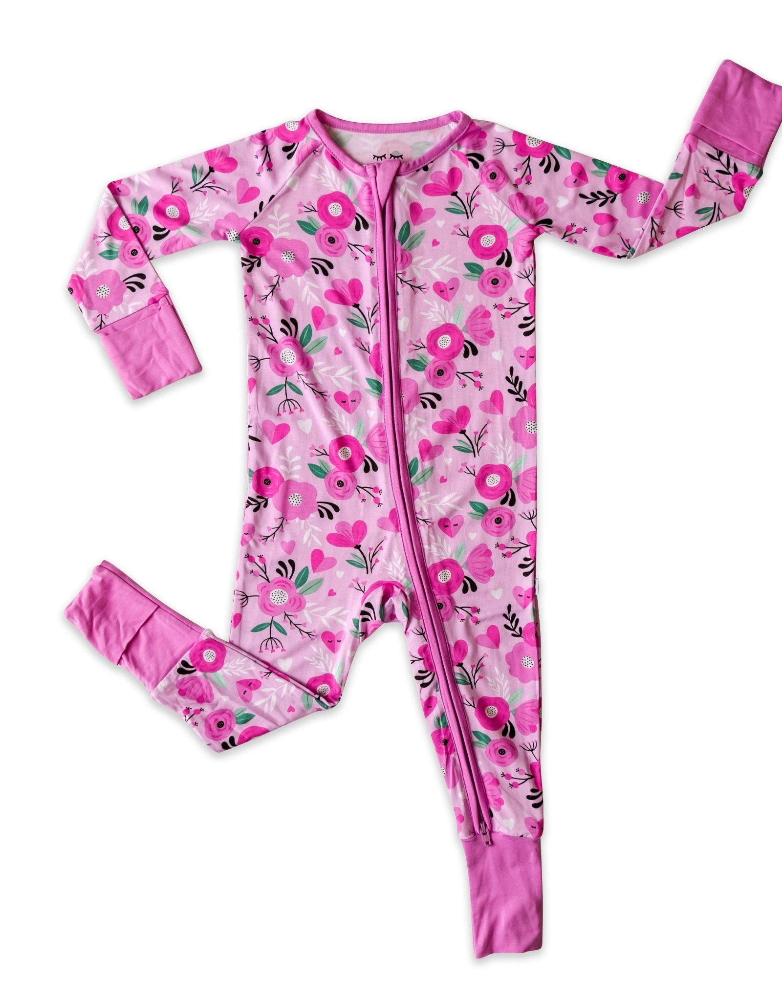 Little Sleepies sweetheart floral zippy