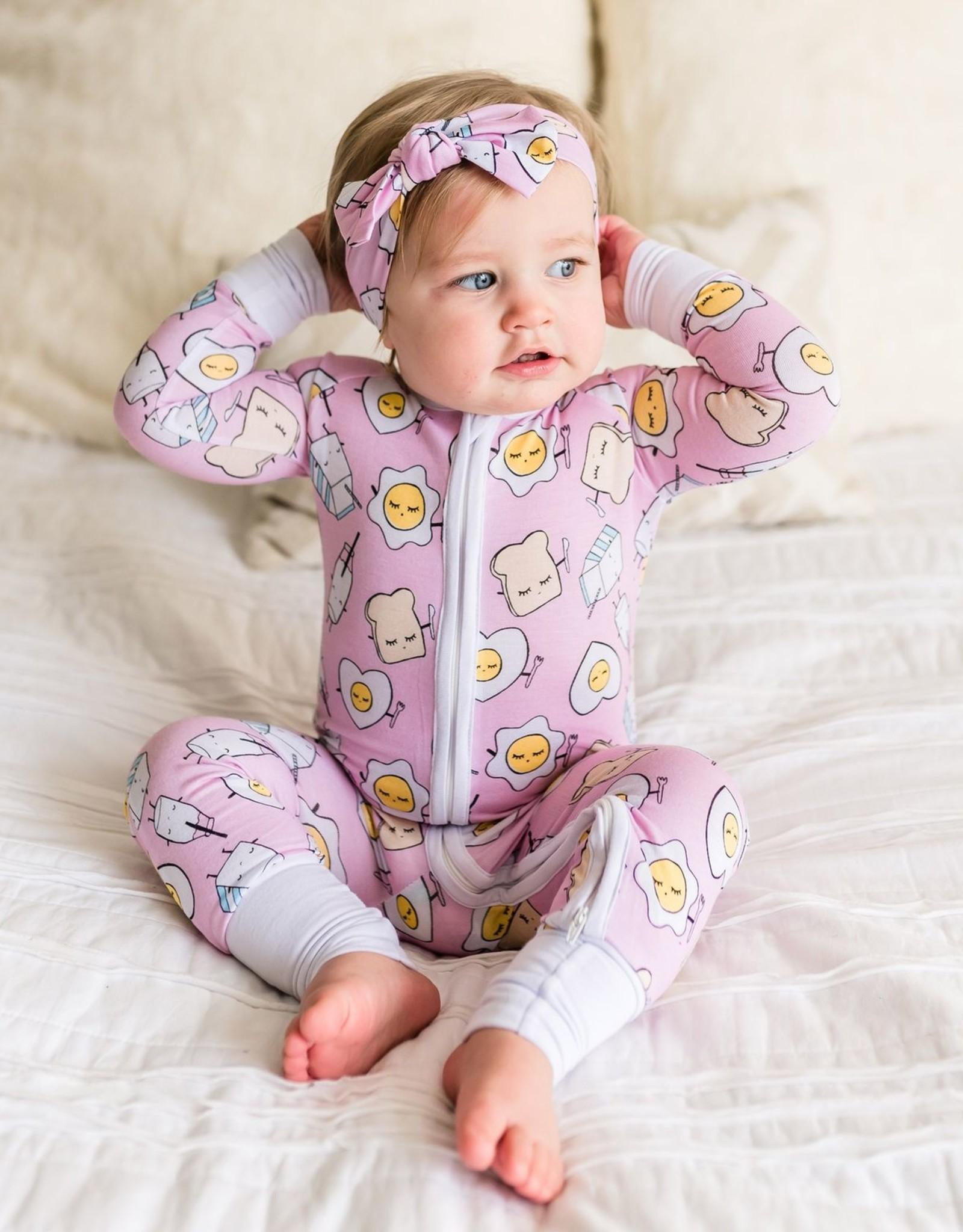 Little Sleepies pink breakfast zippy