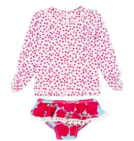 Feather 4 Arrow ruffle l/s set- raspberry
