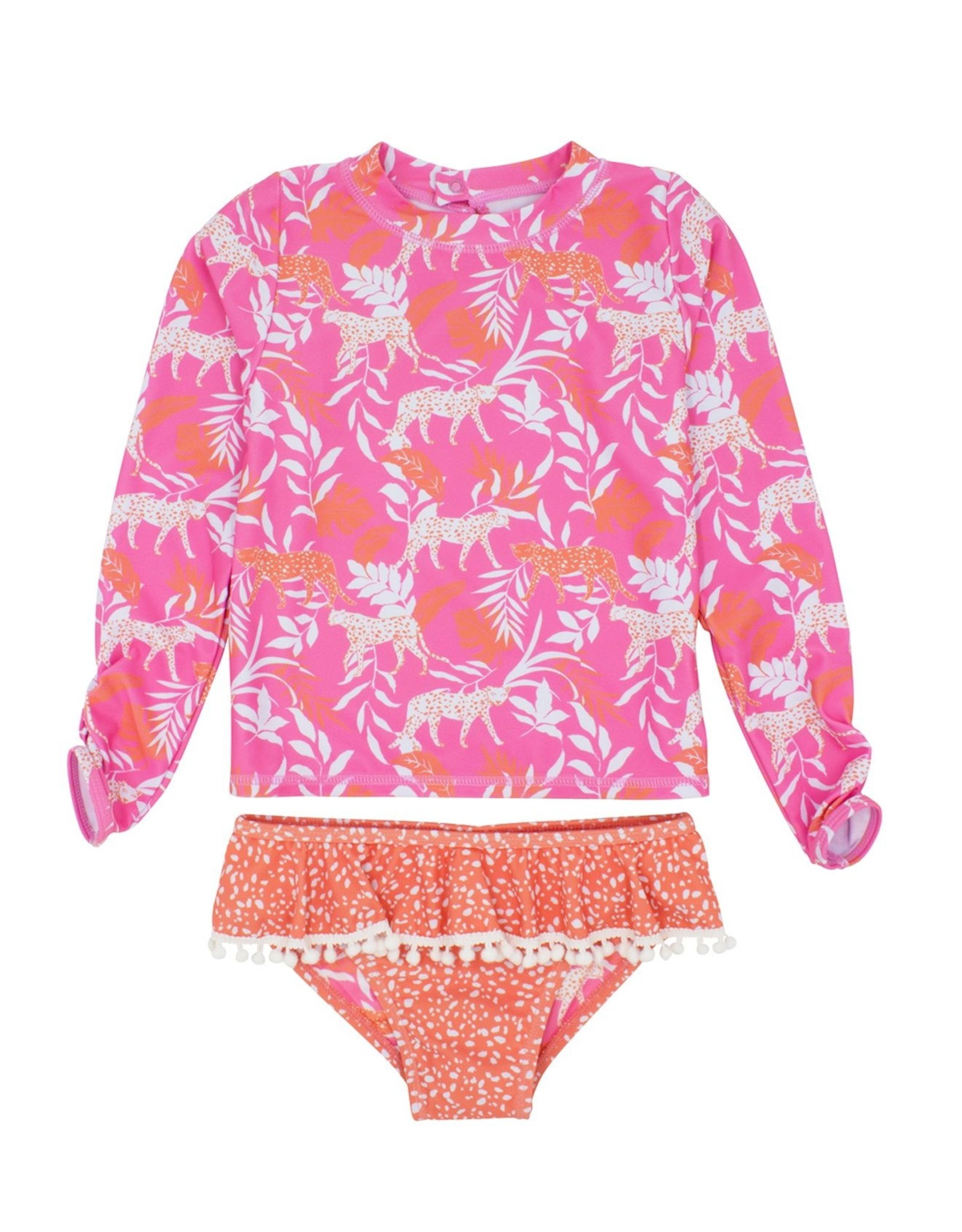 Feather 4 Arrow ruffle l/s set- coral crush