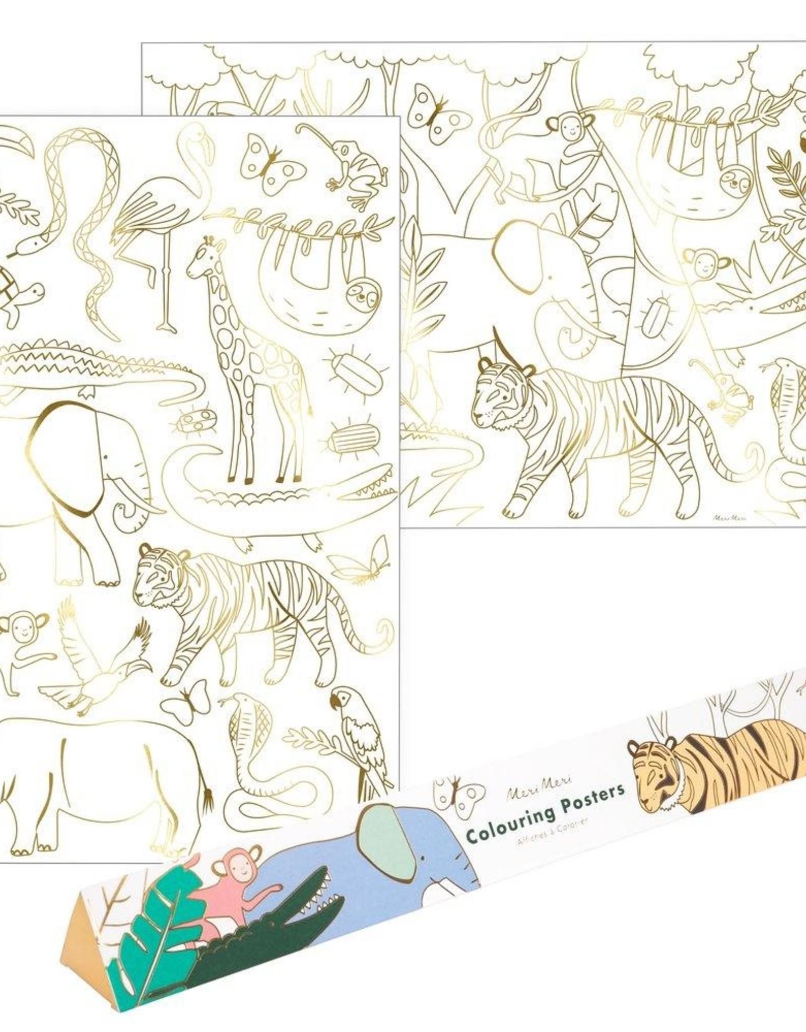 Meri Meri jungle coloring posters
