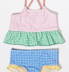 Pink Chicken joy tankini- mixed gingham