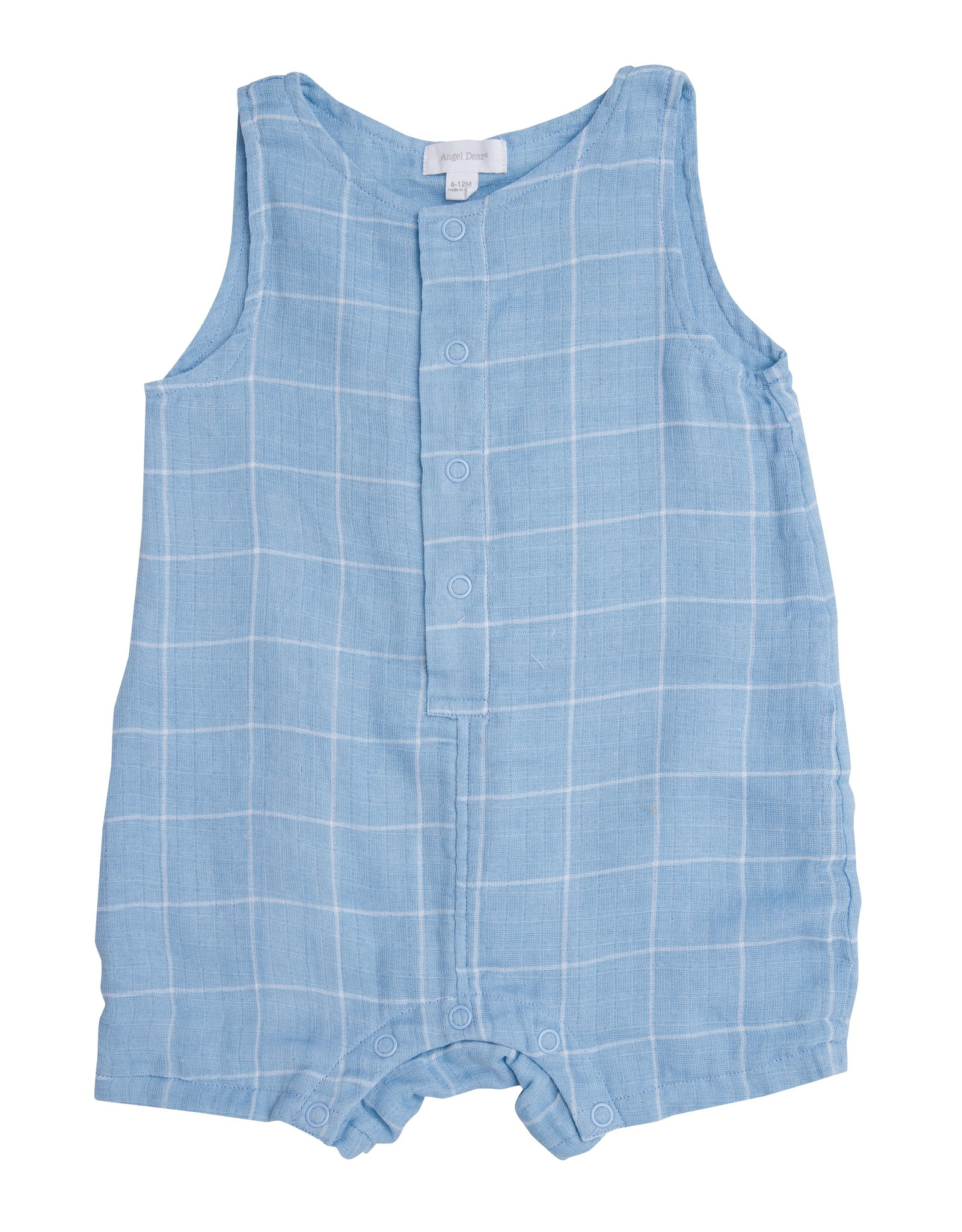 Angel Dear blue grid shortie romper