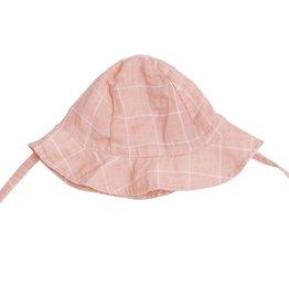 Angel Dear pink grid sunhat