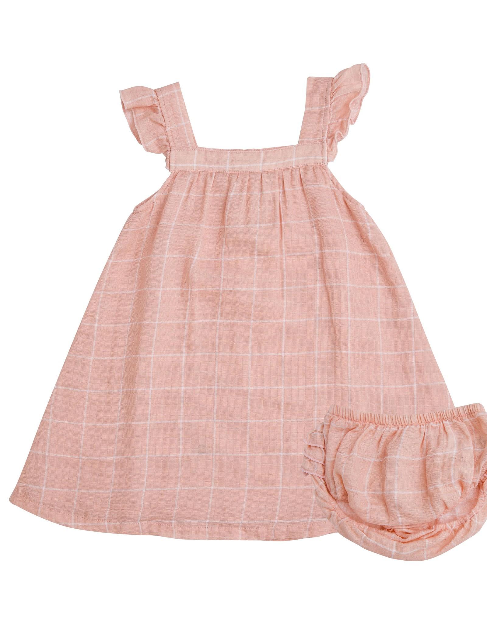 Angel Dear pink grid sundress