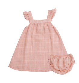 Angel Dear pink grid sundress