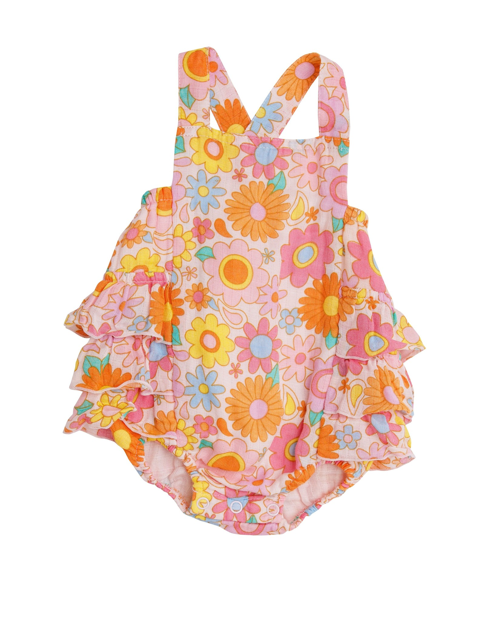 Angel Dear retro daisy ruffle sunsuit